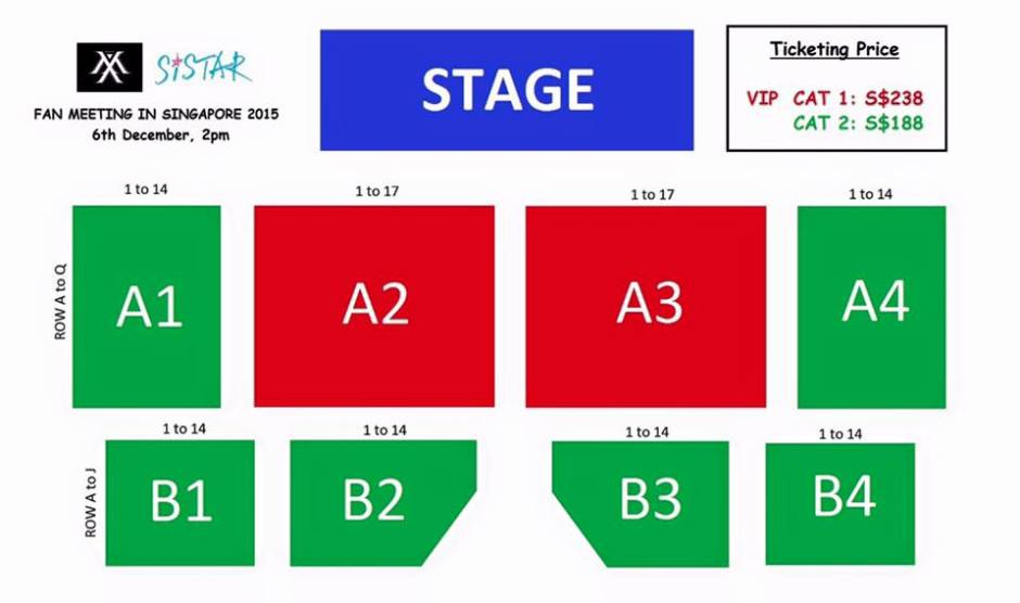 MonstaX and Sistar Fanmeet in Singapore Seat Plan