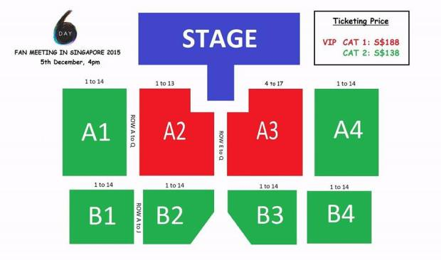 Day6 in Singapore Seat Plan