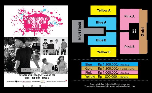 SEAT PLAN SARANGHAEYO INDONESIA 2016