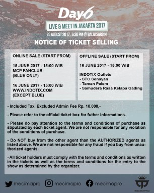 DAY6 NOTICE OF TICKET SALES JKT 2017